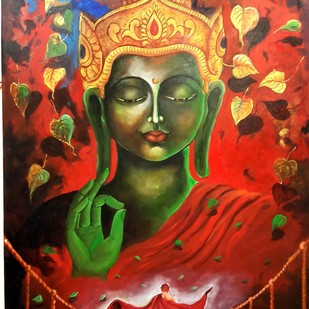 buddha and monk 7 by Arjun das, Decorative Painting, Acrylic on Canvas, Brown color