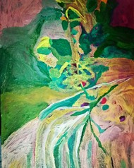 Tree of life by Rupinder kaur, Expressionism Painting, Acrylic & Ink on Canvas, Green color