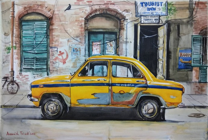 Kolkata Painting.. Calcutta Taxi by Avanish Trivedi, Impressionism Painting, Watercolor on Paper, Gray color
