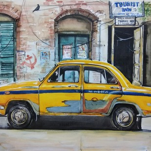 Calcutta Taxi by Avanish Trivedi, Impressionism Painting, Watercolor on Paper, Gray color