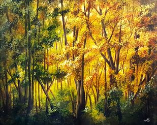 Satpura Beauty by Arpita, Expressionism Painting, Acrylic on Canvas, Green color