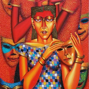 Mask makers by Dayanand Kamakar, Expressionism Painting, Oil & Acrylic on Canvas, Brown color