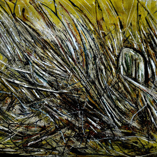 NEW ABSTRACT-5 by Anand Swaroop, Abstract Painting, Oil on Canvas, Green color