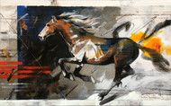 HORSE SERIES-109 by Devidas Dharmadhikari, Expressionism Painting, Acrylic on Canvas, Brown color