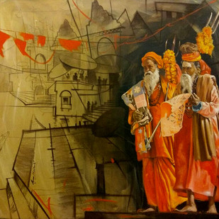 Sadhus by Arpan bhowmik, Expressionism Painting, Acrylic on Canvas,