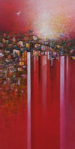 Distant view of a Village_21 by M Singh, Abstract Painting, Acrylic on Canvas, Brown color