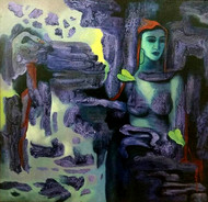 Lady in Purple by S N Sarkar, Expressionism Painting, Oil on Canvas, Blue color