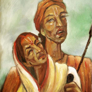 VAISHNOVAI by ANEETA, Expressionism Painting, Oil on Canvas, Brown color
