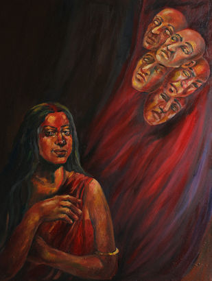 Draupadi. by ANEETA, Expressionism Painting, Oil on Canvas, Brown color