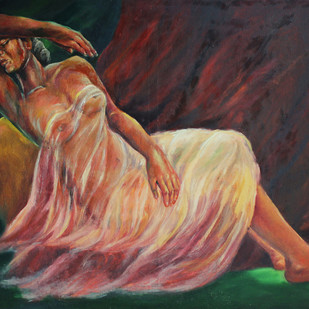 LADY ON REST by ANEETA, Expressionism Painting, Oil on Canvas, Brown color