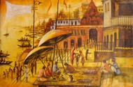 Vibrant Ghats of Varanasi - III by Anirban Seth, Impressionism Painting, Acrylic on Canvas, Brown color