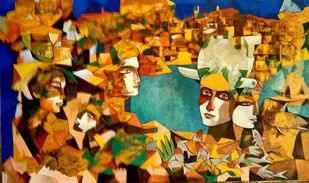 Couple in the world by Pulakesh Mandal, Cubism Painting, Acrylic on Canvas,