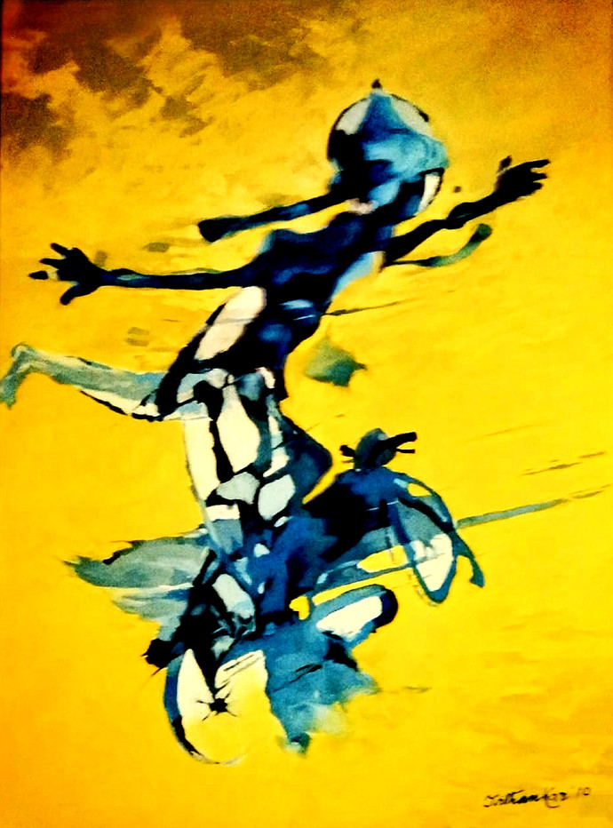 Liberation in Yellow by Tirthankar Biswas, Expressionism Painting, Oil on Canvas, Yellow color