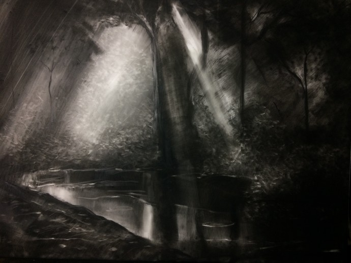 Clement1 by Pradip Kate, Impressionism Painting, Charcoal on Paper, Gray color