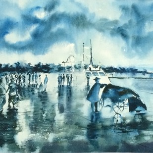 Wet Jelly in Andamans by Dipankar Biswas, Impressionism Painting, Watercolor on Paper, Cyan color