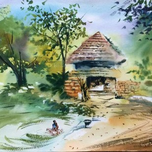 Village Shikharpur by Dipankar Biswas, Impressionism Painting, Watercolor on Paper, Green color