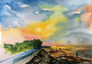 Mandermoni I by Dipankar Biswas, Impressionism Painting, Watercolor on Paper, Beige color