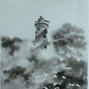 A Watch Tower in Andaman Island. by Dipankar Biswas, Impressionism Painting, Watercolor on Paper, Cyan color