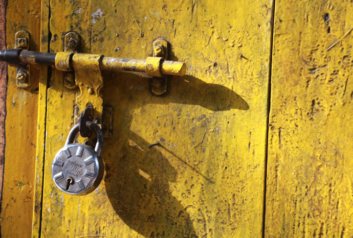 Yellow Door by Sayali, Image Photography, Digital Print on Canvas, Brown color