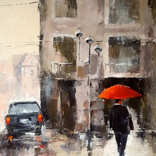Red Umbrella by Arpita, Expressionism Painting, Acrylic on Canvas, Brown color