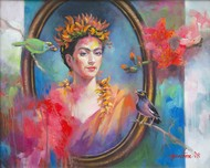 My Frida - 2 by Gautam Sarkar, Expressionism Painting, Acrylic on Canvas, Brown color
