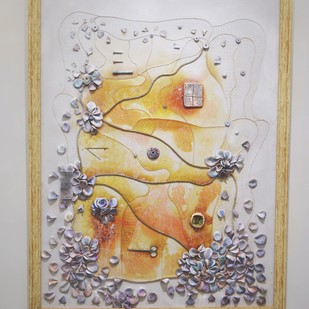 Septum by Viraag Desai, Expressionism Painting, Mixed Media on Canvas, Beige color