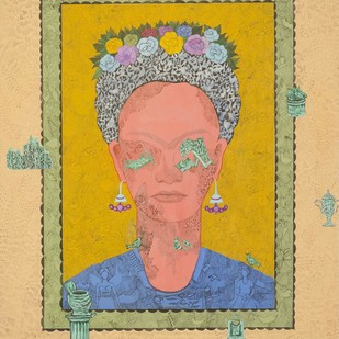 Frida Kahlo - 1 by Avijit Mukerjee, Expressionism Painting, Gouache on Paper, Beige color