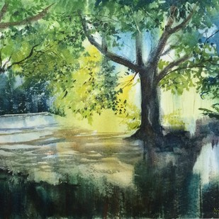 Into the Woods by Dipankar Biswas, Impressionism Painting, Watercolor on Paper, Green color