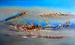 Untitled by Dnyaneshwar Dhavale , Abstract Painting, Acrylic on Canvas, Gray color