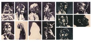 Early Drawings - Set of 13 by Thota Vaikuntam, Expressionism Digital Art, Ink on Paper, Gray color