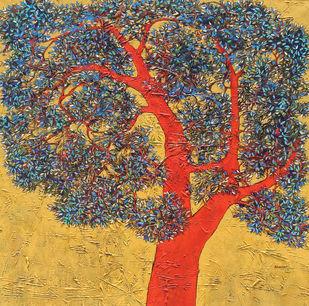 tree of life by Bhaskara Rao Botcha, Impressionism Painting, Acrylic on Canvas, Brown color
