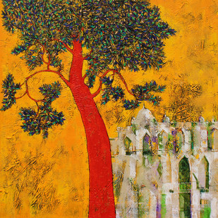 tree of life by Bhaskara Rao Botcha, Impressionism Painting, Acrylic on Canvas, Orange color