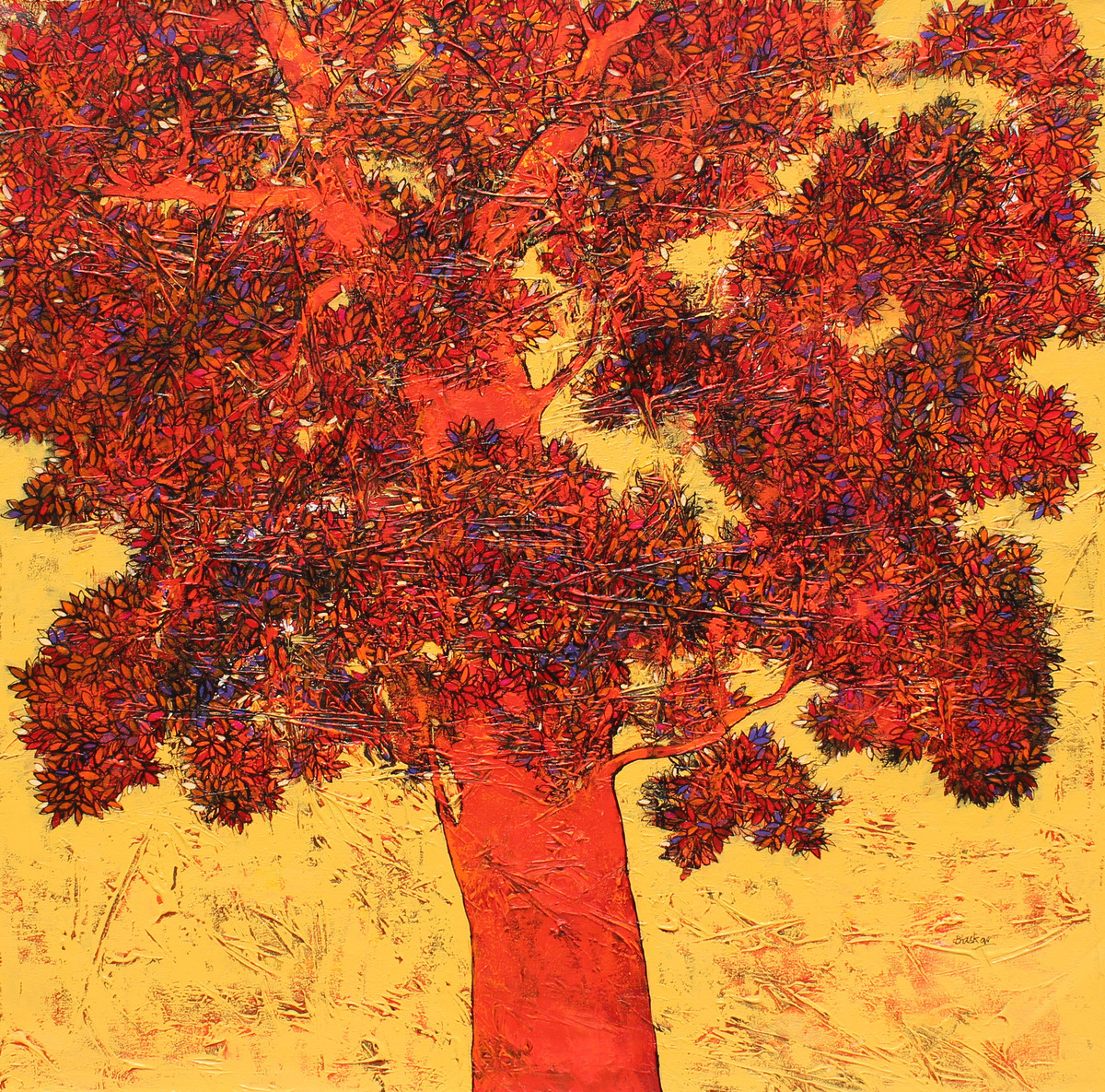 tree of life by Bhaskara Rao Botcha, Impressionism Painting, Acrylic on Canvas, Brown color