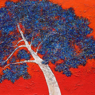 tree of life by Bhaskara Rao Botcha, Impressionism Painting, Acrylic on Canvas, Blue color