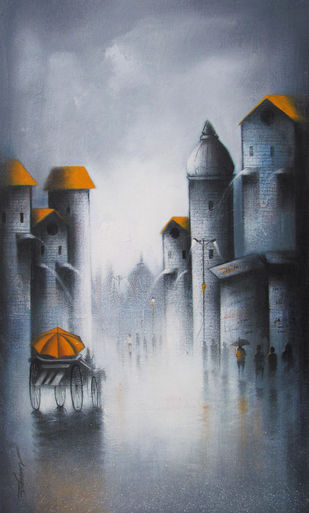 Monsoon by Somnath Bothe, Impressionism Painting, Acrylic on Canvas, Gray color