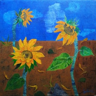 Morning Glory 1 by Jyoti Mehta, Expressionism Painting, Acrylic on Canvas, Brown color