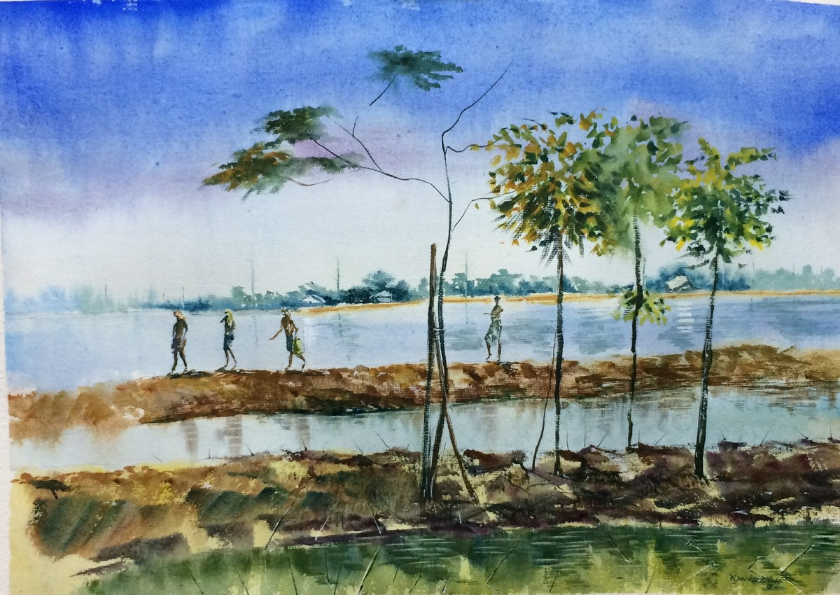 Village Life Charabari I by Dipankar Biswas, Impressionism Painting, Watercolor on Paper, Cyan color