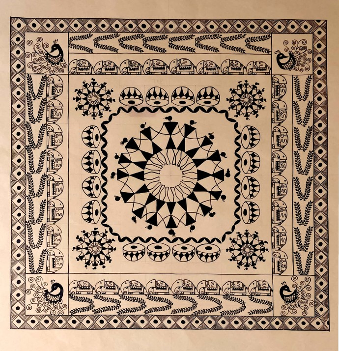Warli design by Rashmi Puranik-Thete, Folk Painting, Acrylic on Paper, Beige color