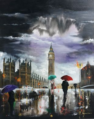 Rainy day in london by Arjun das, Image Painting, Acrylic on Canvas, Gray color