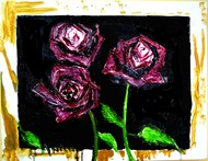 FLOWER STUDY1 by Anand Swaroop, Expressionism Painting, Oil on Canvas, Black color
