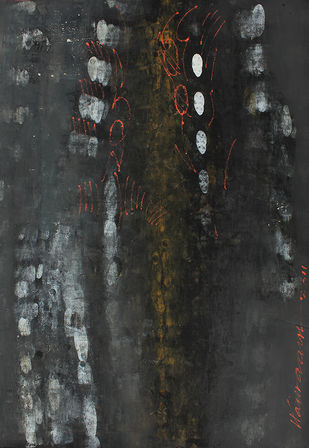 UNTITLED 2 by V .Hariraam , Abstract Painting, Acrylic on Paper, Gray color