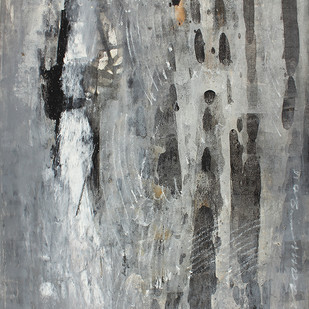 UNTITLED 3 by V .Hariraam , Abstract Painting, Acrylic on Paper, Gray color