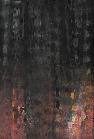 UNTITLED 5 by V .Hariraam , Abstract Painting, Acrylic on Paper, Gray color