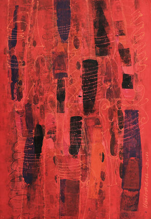UNTITLED 6 by V .Hariraam , Abstract Painting, Acrylic on Paper, Red color