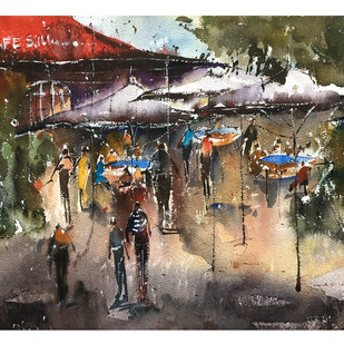 Cafe Suvarna by Suvarna Dheringe, Impressionism Painting, Watercolor on Paper, Brown color