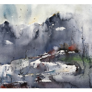 mount kailash by Suvarna Dheringe, Impressionism Painting, Watercolor on Paper, Gray color