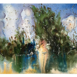The reflection of Nature by Suvarna Dheringe, Impressionism Painting, Watercolor on Paper, Green color