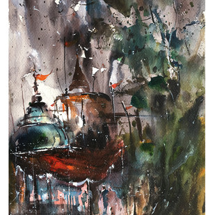 The Stormy Temple by Suvarna Dheringe, Impressionism Painting, Watercolor on Paper, Gray color