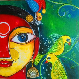 Aparajita-1 by Meenakshi Jha Banerjee, Traditional Painting, Canvas on Board, Green color