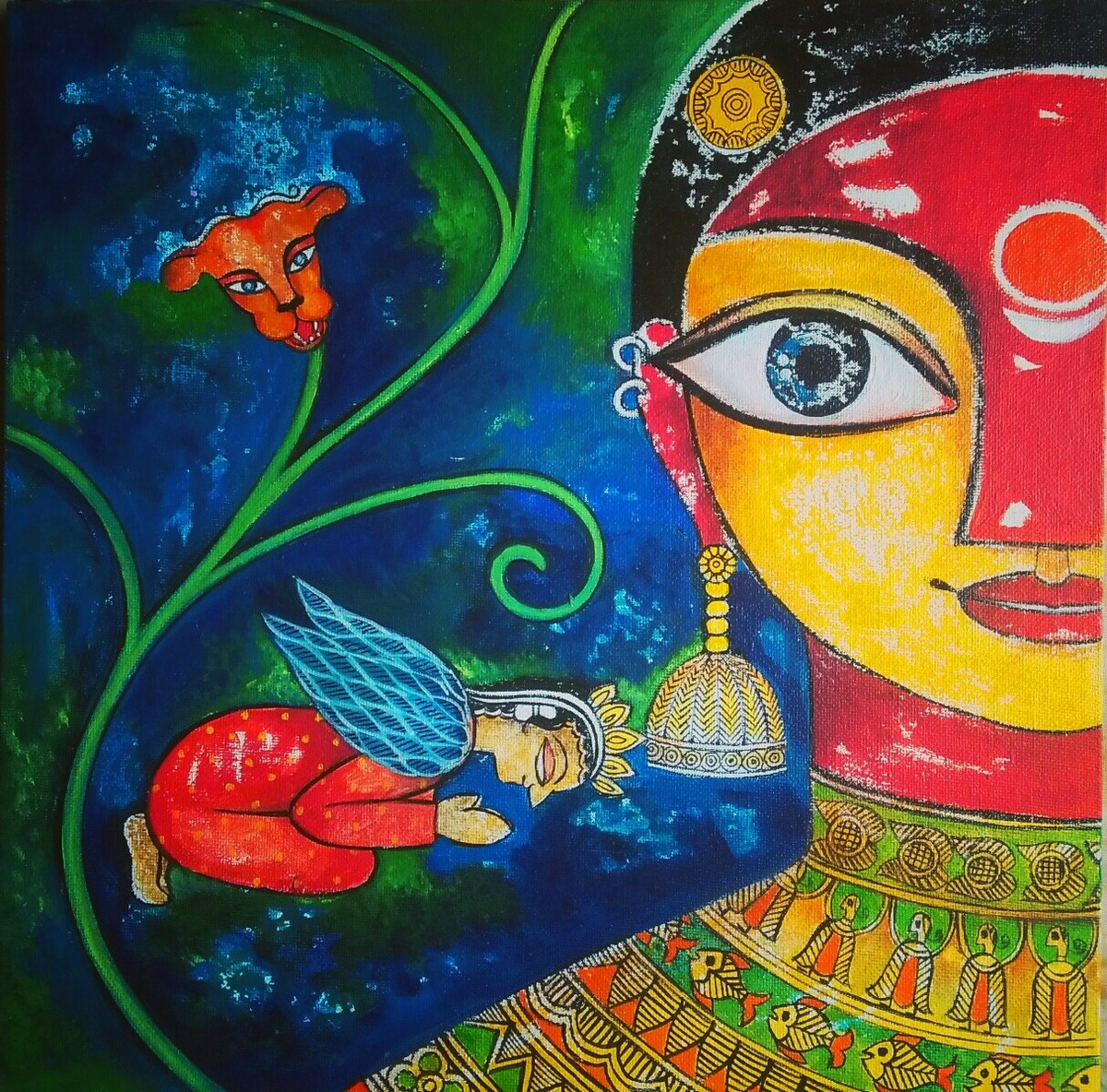 Aparajita-2 by Meenakshi Jha Banerjee, Expressionism Painting, Canvas on Board, Blue color